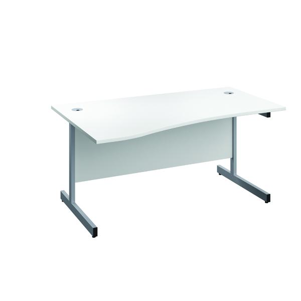 Jemini Left Hand Wave Desk 1600x1000mm White/Silver