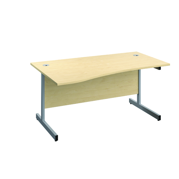 Jemini Left Hand Wave Desk 1600x1000mm Maple/Silver