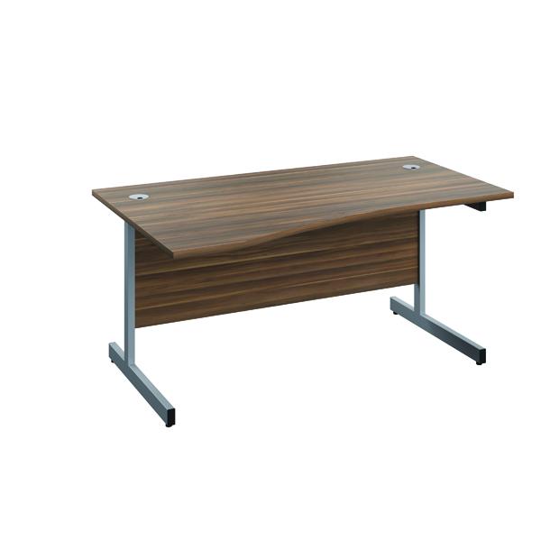 Jemini Left Hand Wave Desk 1600x1000mm Dark Walnut/Silver
