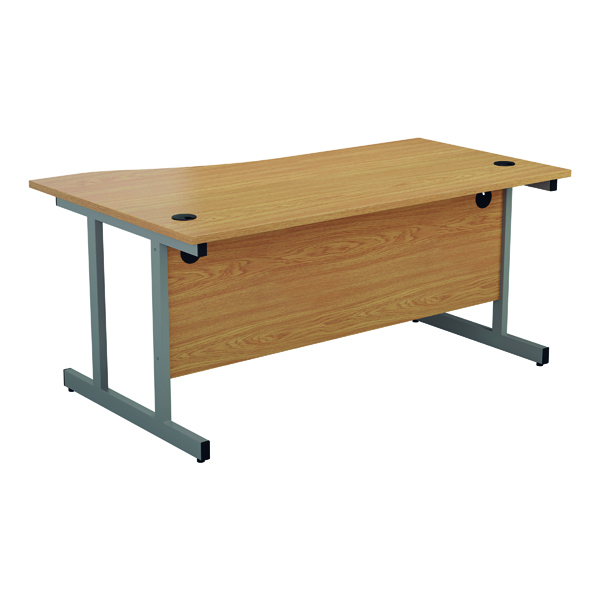 Jemini Right Hand Wave Desk 1600x1000mm Nova Oak/Silver
