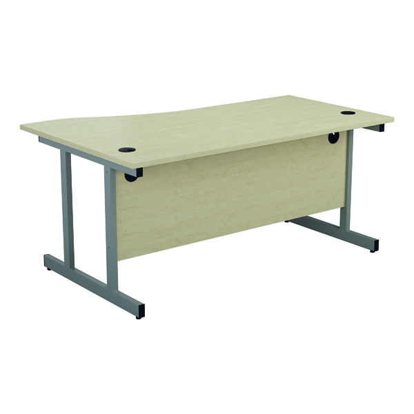 Jemini Right Hand Wave Desk 1600x1000mm Maple/Silver