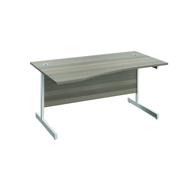 Jemini Left Hand Wave Desk 1600x1000mm Grey Oak/White