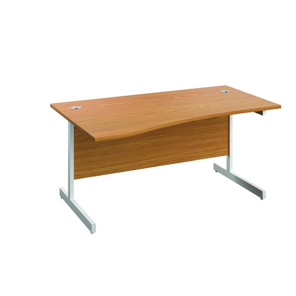 Jemini Left Hand Wave Desk 1600x1000mm Nova Oak/White
