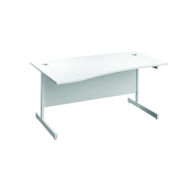 Jemini Left Hand Wave Desk 1600x1000mm White/White