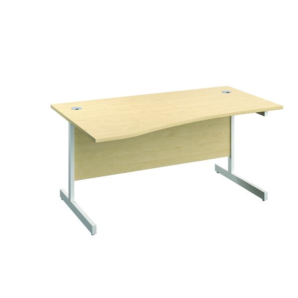 Jemini Left Hand Wave Desk 1600x1000mm Maple/White