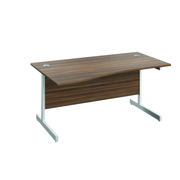 Jemini Left Hand Wave Desk 1600x1000mm Dark Walnut/White