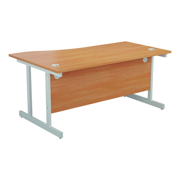 Jemini Right Hand Wave Desk 1600x1000mm Beech/White