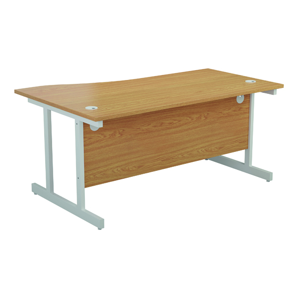 Jemini Right Hand Wave Desk 1600x1000mm Nova Oak/White