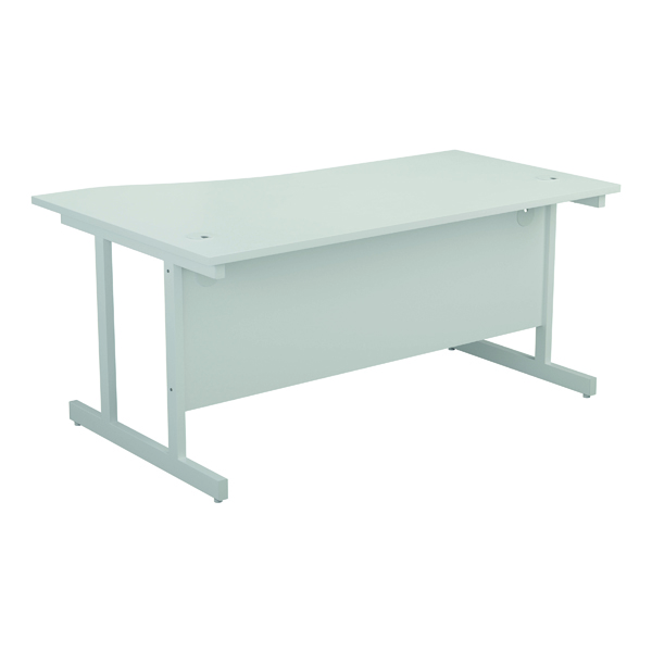 Jemini Right Hand Wave Desk 1600x1000mm White/White
