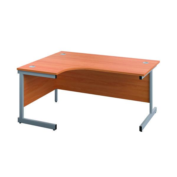 First Left Hand Radial Desk 1600x1200mm Beech/Silver