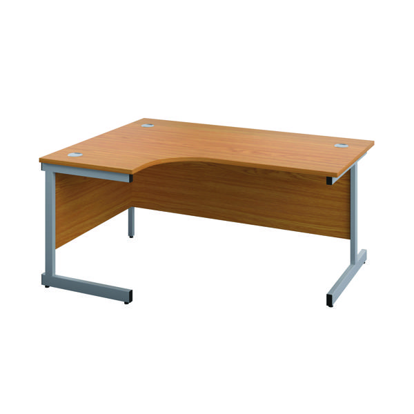 First Left Hand Radial Desk 1600x1200mm Nova Oak/Silver