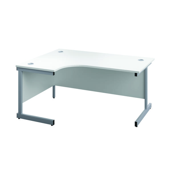 First Left Hand Radial Desk 1600x1200mm White/Silver