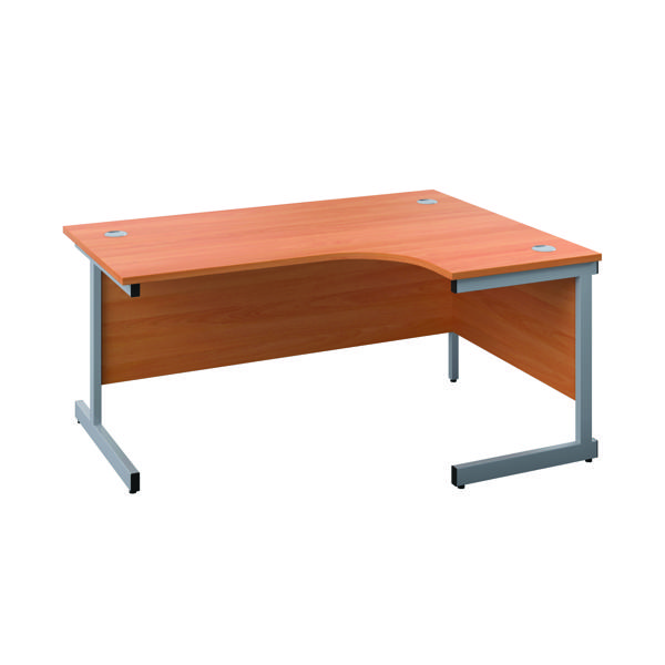 First Right Hand Radial Desk 1600x1200mm Beech/Silver