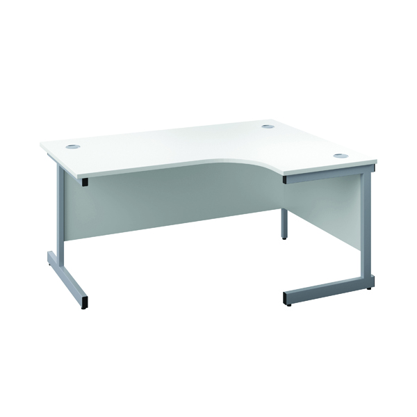 First Right Hand Radial Desk 1600x1200mm White/Silver