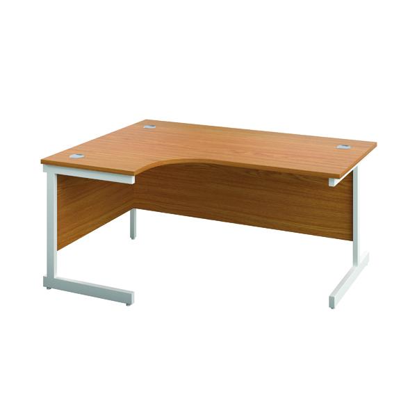 First Left Hand Radial Desk 1600x1200mm Nova Oak/White