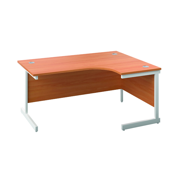 First Right Hand Radial Desk 1600x1200mm Beech/White