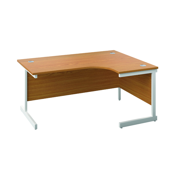 First Right Hand Radial Desk 1600x1200mm Nova Oak/White