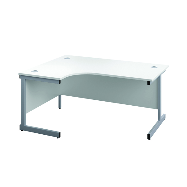 First Left Hand Radial Desk 1800x1200mm White/Silver