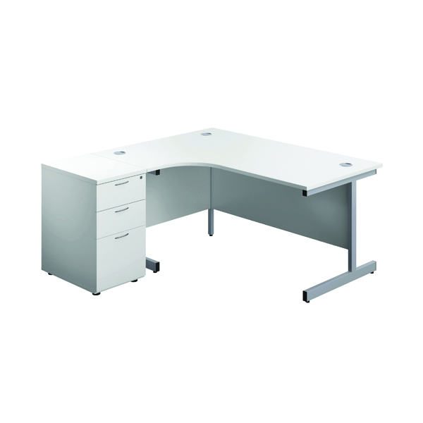 First Left Hand Radial Desk 1600mm White/Silver with Pedestal