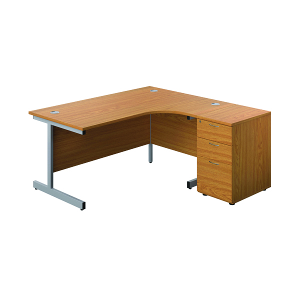 First Right Hand Radial Desk 1600 Nova Oak/Silver w/ Pedestal