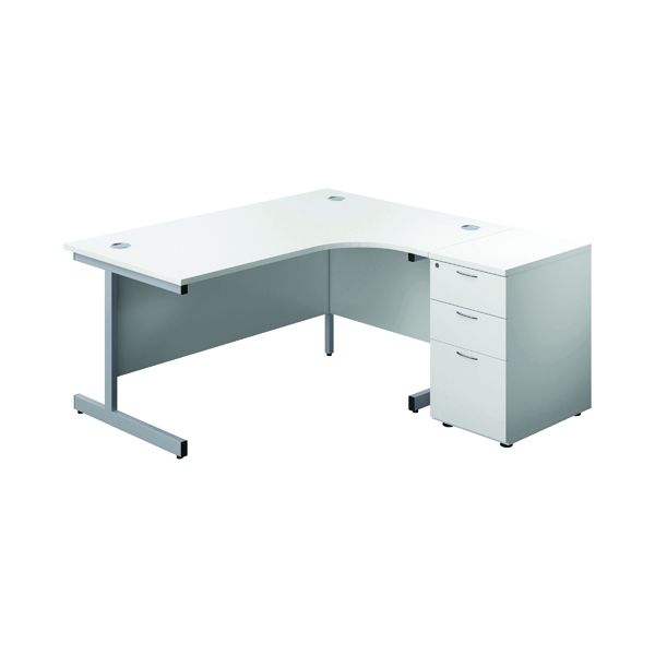 First Right Hand Radial Desk 1600 White/Silver with Pedestal