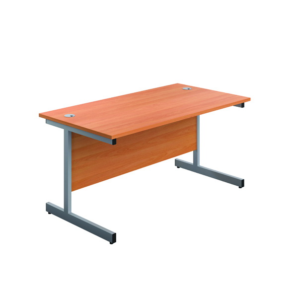 Image for First Single Rectangular Desk 1200x800mm Beech/Silver KF803317