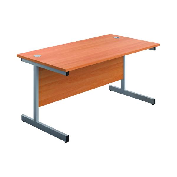 First Single Rectangular Desk 1600x800mm Beech/Silver