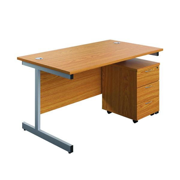 First Single Desk 1600x800 Nova Oak/Silver 3 Drawer Pedestal