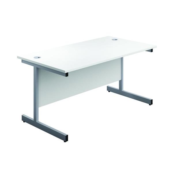 First Single Desk 1600x800mm White/Silver 3 Drawer Pedestal