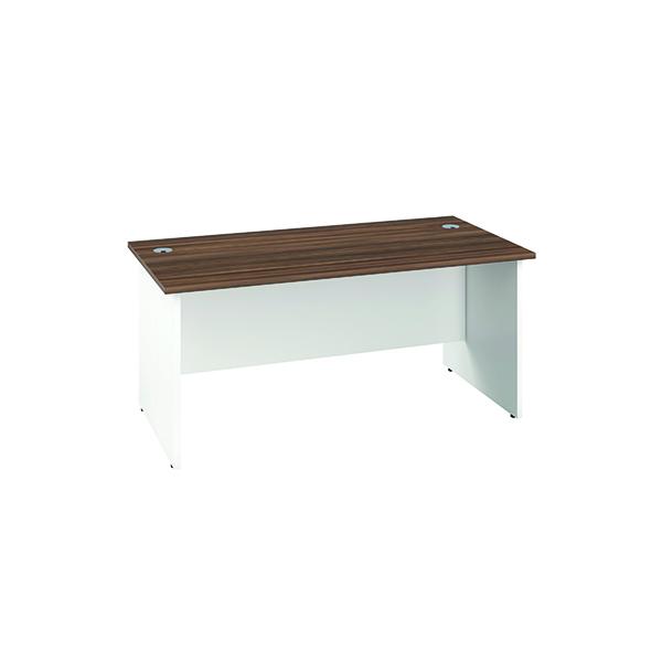 Jemini Rectangular Panel Desk 1400x800mm Dark Walnut/White