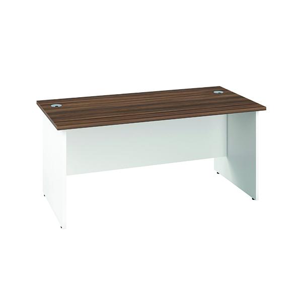 Jemini Rectangular Panel Desk 1600x800mm Dark Walnut/White