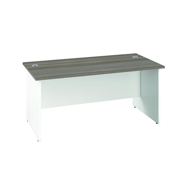 Jemini Rectangular Panel End Desk 1800x800mm Grey Oak/White