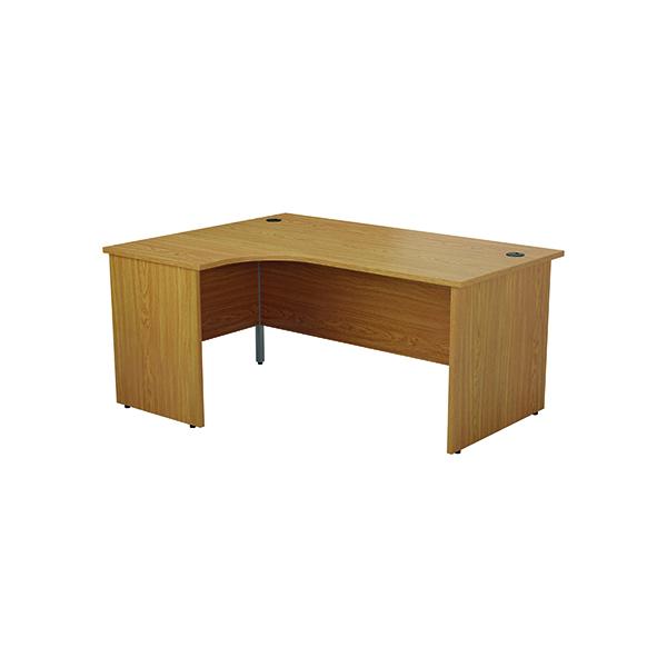 Jemini Left Hand Radial Panel End Desk 1600x1200mm Nova Oak