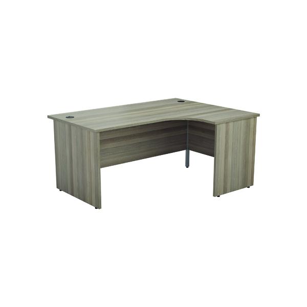 Jemini Right Hand Radial Panel End Desk 1600x1200mm Grey Oak