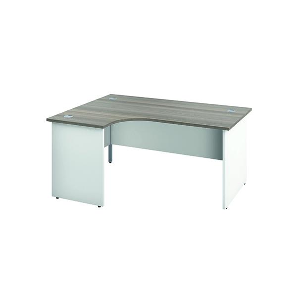 Jemini Left Hand Radial Panel End Desk 1600x1200mm Grey Oak/White