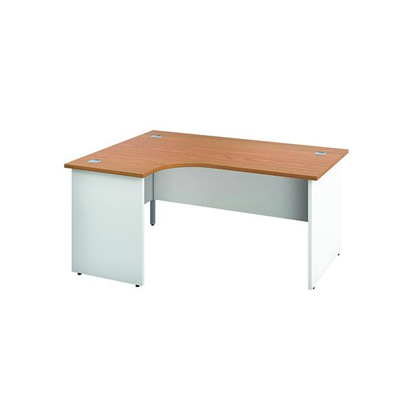Jemini Left Hand Radial Panel End Desk 1600x1200mm Nova Oak/White