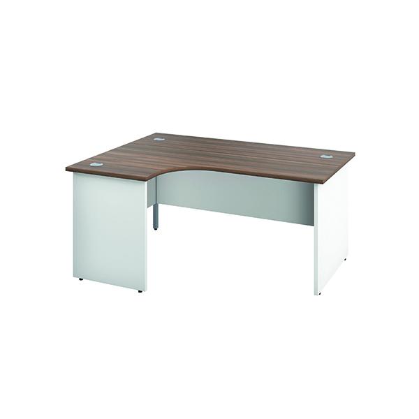 Jemini Left Hand Radial Panel End Desk 1600x1200mm Dark Walnut/White