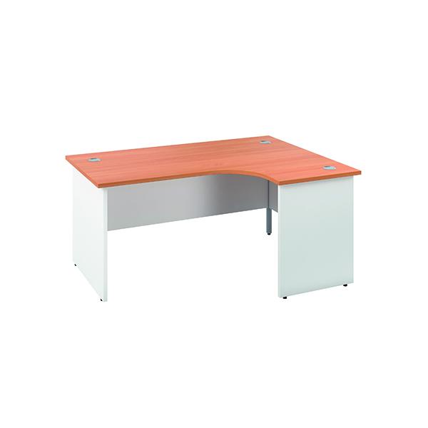 Jemini Right Hand Radial Panel End Desk 1600x1200mm Beech/White