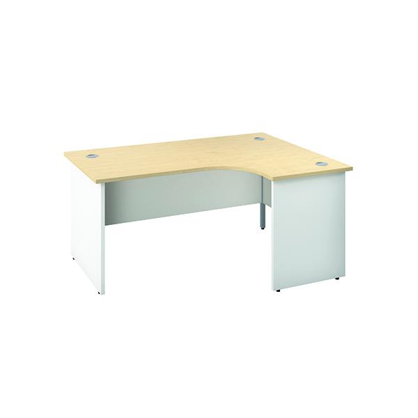 Jemini Right Hand Radial Panel End Desk 1600x1200mm Maple/White