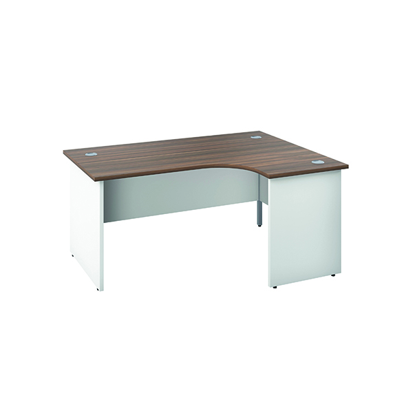 Jemini Right Hand Radial Panel End Desk 1600x1200mm Dark Walnut/White