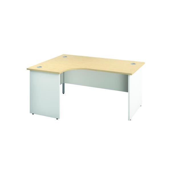 Jemini Left Hand Radial Panel End Desk 1800x1200mm Maple/White KF805526