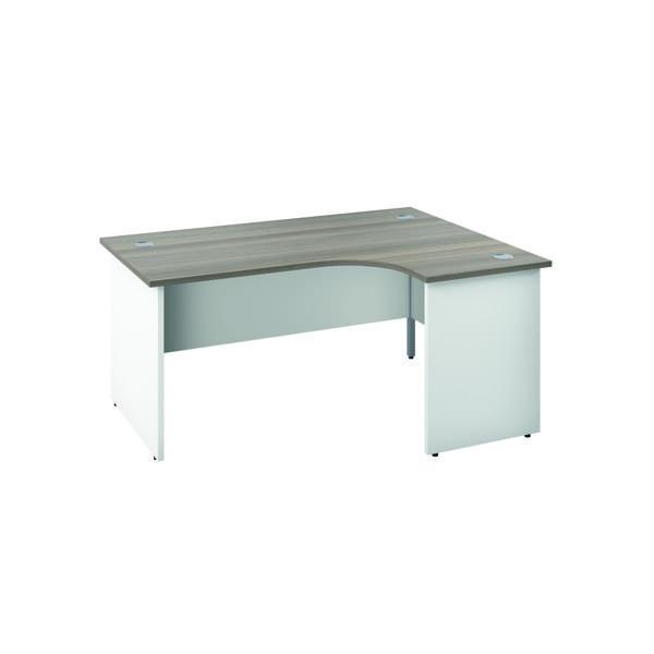 Jemini Right Hand Radial Panel End Desk 1800x1200mm Grey Oak/White