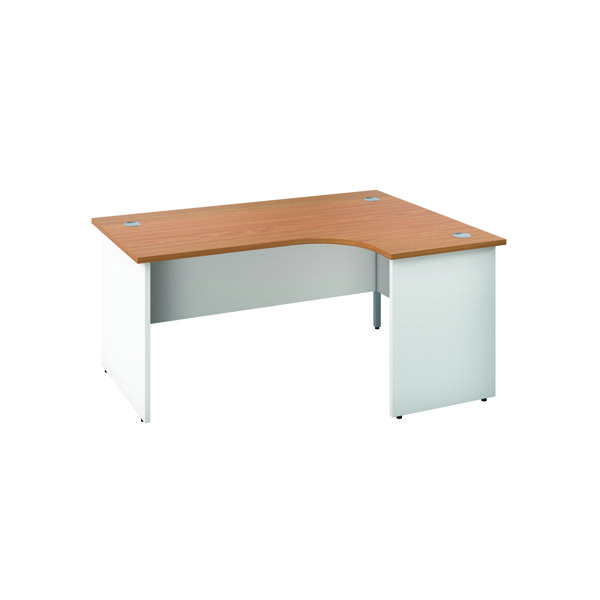 Jemini Right Hand Radial Panel End Desk 1800x1200mm Nova Oak/White