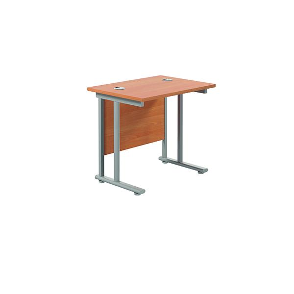 Jemini Double Upright Rectangular Desk 800x600mm Beech/Silver