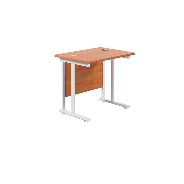 Jemini Cantilever Rectangular Desk 800x600mm Beech/White