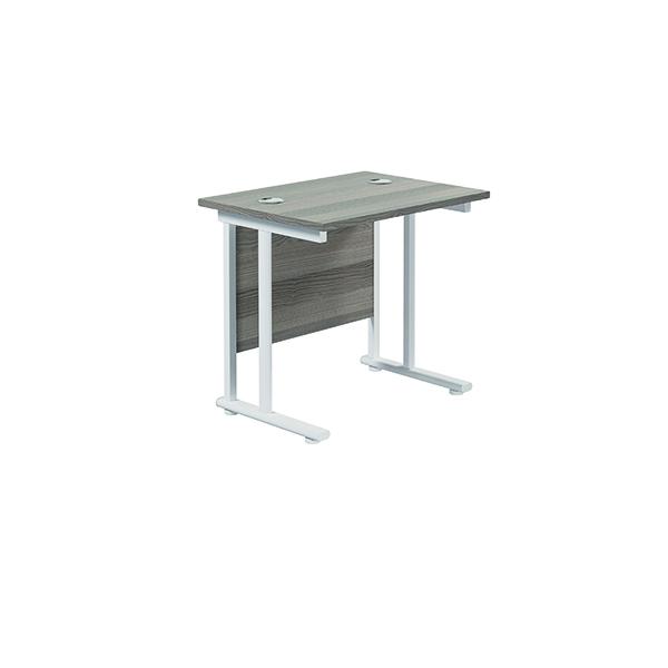 Jemini Cantilever Rectangular Desk 800x600mm Grey Oak/White