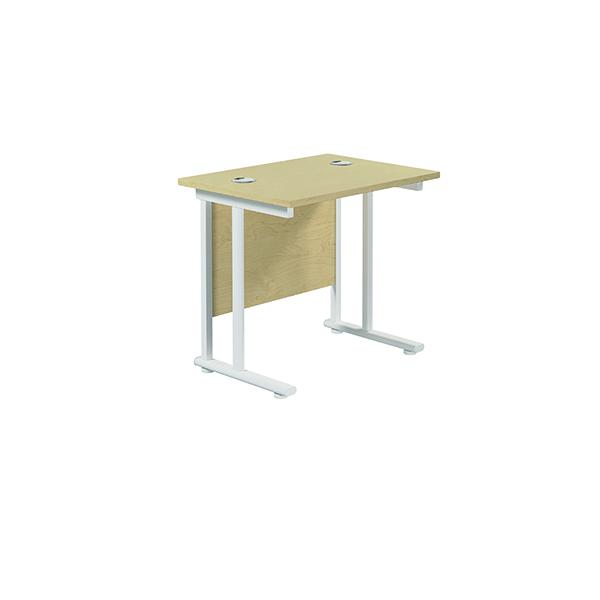 Jemini Cantilever Rectangular Desk 800x600mm Maple/White