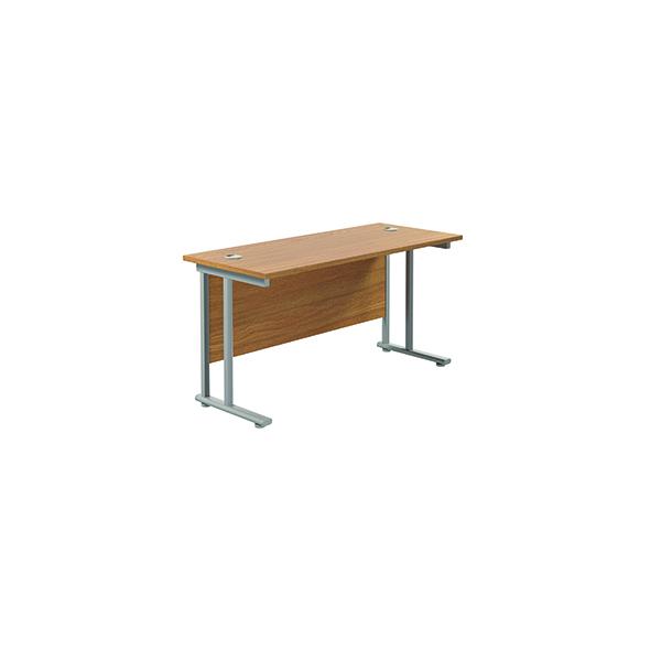 Jemini Cantilever Rectangular Desk 1200x600mm Nova Oak/Silver