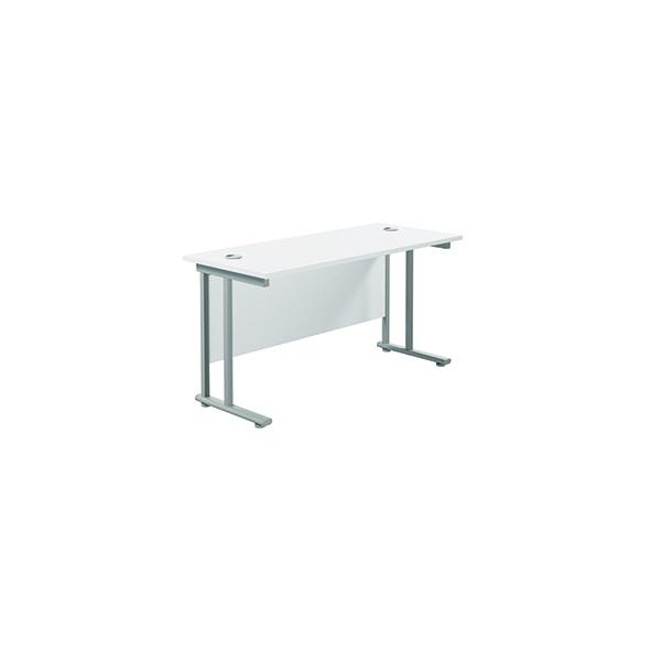Jemini Cantilever Rectangular Desk 1200x600mm White/Silver