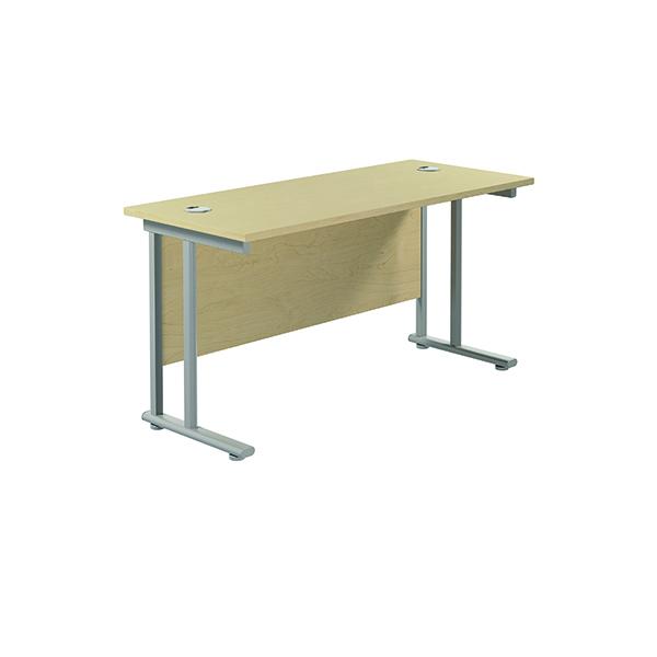 Jemini Cantilever Rectangular Desk 1400x600mm Maple/Silver